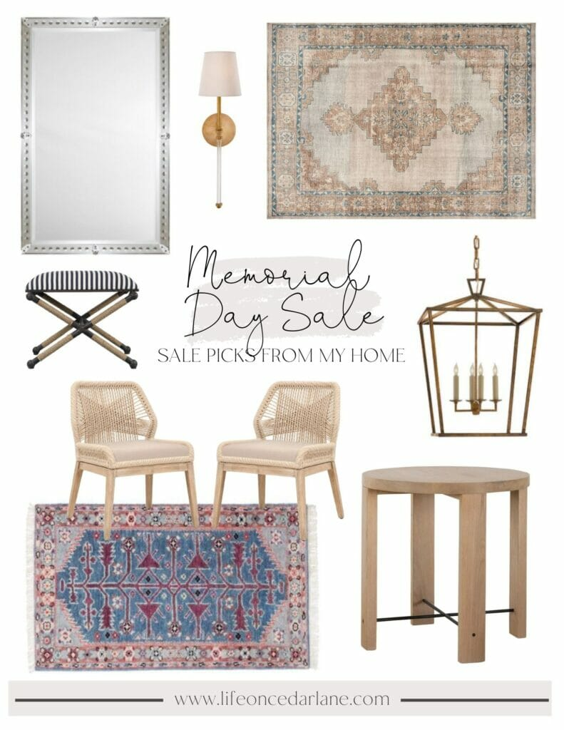 Life on Cedar Lane Memorial Day sale picks from my home include Pottery Barn finn rug, bathroom mirrors, kitchen chairs, bathroom runner and more!