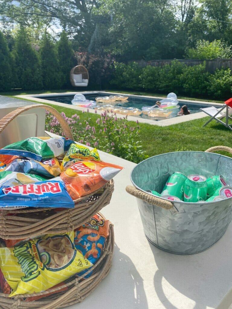 Backyard pool party, outside entertaing