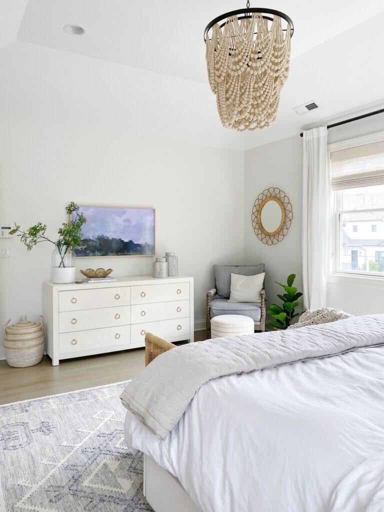 Serena & Lily dresser, frame tv, benjamin moore classic gray walls