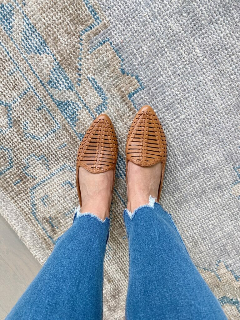 vintage inspired pottery barn rug, fall mules