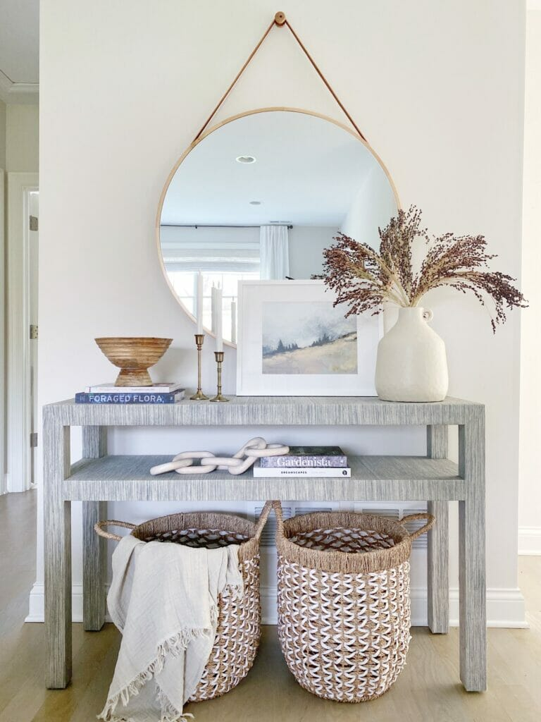 Serena and Lily blake console table, paired with a hanging round mirror, and fall decor styling